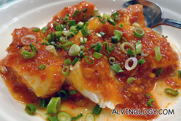 Steamed cod fish with chili chips