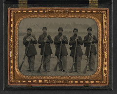 [Five unidentified soldiers in Union uniform of the 6th Regiment Massachusetts Volunteer Militia outfitted with Enfield muskets in front of encampment] (LOC) (The Library of Congress) Tags: usa unitedstatesofamerica volunteers union rifle rifles civilwar soldiers libraryofcongress militia yankee yankees enfield thenorth theunion americancivilwar mvm warbetweenthestates uscivilwar thecivilwar xmlns:dc=httppurlorgdcelements11 enfieldrifle 6thregiment massachusettsvolunteermilitia 6thregimentinfantry theoldsixth oldsixth dc:identifier=httphdllocgovlocpnpppmsca27124