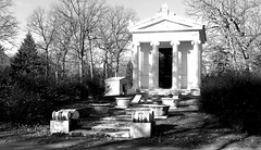 Hecker Mausoleum BW (Dave Garvin) Tags: cemetery detroit mausoleum woodlawn hecker mausoleums