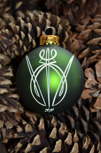 pinstriped Christmas ornaments