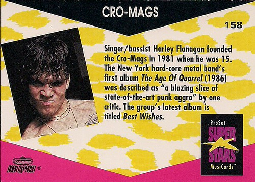 1991 Pro-Set Superstars Musicards No.158 - Cro-Mags (Reverse)