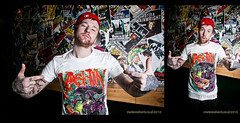 Jonny Craig (Emarosa / Dance Gavin Dance), modelling Yashin merch (Marianne Harris - UK music + portrait photographer) Tags: uk rock tattoo canon promo model cap marianne harris merch 2010 yashin dgd eos30d strobist dancegavindance emarosa jonnycraig