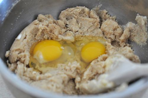 Cream the Butter, Crisco, sugar and vanilla then add egg
