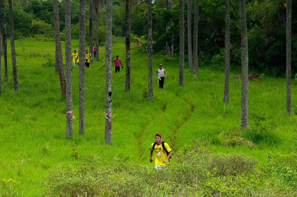 Manduara Light, una carrera de ecoaventura para iniciados en el deporte se lleva a cabo dos veces al año. Saliendo de la zona boscosa, un participante a un ritmo moderado de trote continúa su carrera (Trekking) hacia el puesto de Control 04 en la zona cercana a la cima del Cerro Naranjo. (Elton Núñez - Piribebuy, Paraguay)