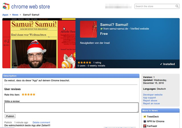 Samui-Samui als Google Chrome Application