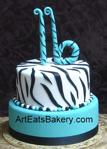 Two Tier Black White And Teal Fondant Custom Animal Print Sweet Sixteen Birthday Cake With