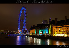 Keeping an Eye on County Hall, London (LuckMaster) Tags: county uk greatbritain blue light england london night dark lights hall britain great londoneye merlin hdr highdynamicrange engeland countyhall londen