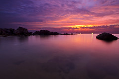 Phu Quoc Set (_Pooki_) Tags: longexposure sunset sea sun yellow clouds gold fishing rocks tripod vietnam fishingboats phuquoc puple settingsun canon2470l overfishing canon7d
