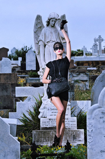 Gothic Fashion Photography by Kent Johnson, Love & luck, old cemetery Skull and Bones Campaign