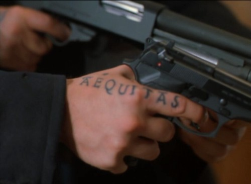 """Veritas"" (""truth"" in Latin), hand tattoo, Connor MacManus (actor Sean"