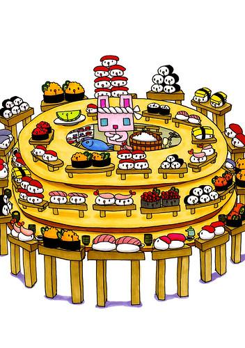 群衆絵_四角うさぎの回転寿司