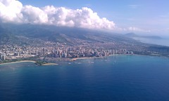 In the air over Honolulu