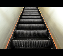 121/365 Escalate (brandonhuang) Tags: red orange motion black blur yellow metal stairs grey stair stripes escalator steps stripe move step ascend escalate brandonhuang