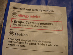 Roasted and salted peanuts - contains peanuts! Who knew?!