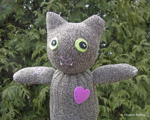 Feral Cheryl the TNR Demo Cat, sock cat by Elizabeth Ruffing