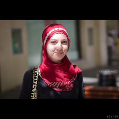 Chaperone (colinlogan) Tags: street light red portrait girl scarf canon project eos 50mm natural head f14 muslim hijab strangers sigma australia perth western 100 60d
