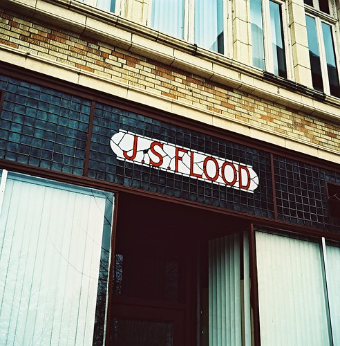 J.S. Flood Barbershop sign, Downtown Albany, Cross-Processed