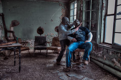 Post Apocalyptic Norman Rockwell Style Barbershop Photo (VKMUSTBEDESTROYED) Tags: friendship detroit shave gasmask apocalyptic wurlitzer urbex gassy hairsteamer climasons