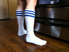 (theres no way home) Tags: woman chicago kitchen socks photography stove logansquare whitesocks highsocks stripedsocks bluestriped