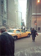 Plod (TheeErin) Tags: life street city winter people snow chicago storm walking loop dusk snowy taxi january yellowcab windy goinghome crosswalk scape winterstorm streetshot sleet windycity storming chicagoist 2011 westwashingtonstreet snowathon chiberia