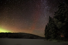 Northern Lights (neatmummy) Tags: trip lake ice finland way fire photography lights star frozen intense woods russia extreme border aurora astronomy northern incident karelia milky leanto pohjoiskarjala linnunrata 20102011