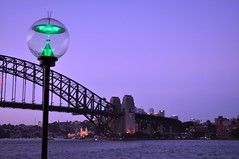 Sydney Harbour Bridge and Luna Park from a distance at dusk - Sydney, Australia (Blue Rave) Tags: bridge light building green architecture lights streetlamp sydney illumination australia illuminated lamppost nsw newsouthwales lunapark sydneyharbourbridge thecolorgreen