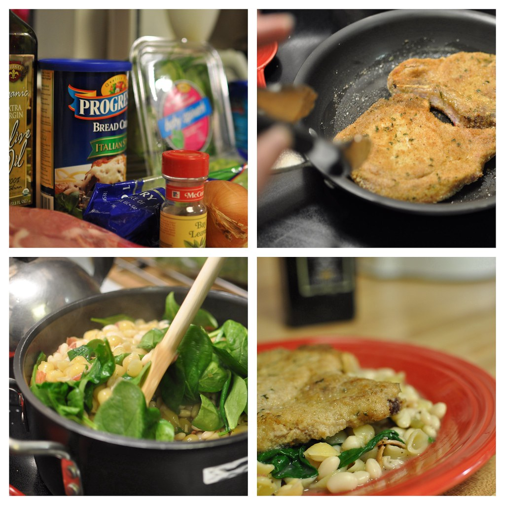 pasta e fagioli and italian pork chops