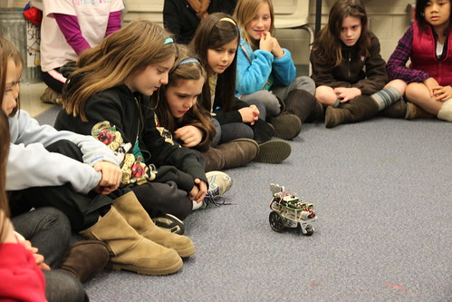 The girls were very interested in our small robot.