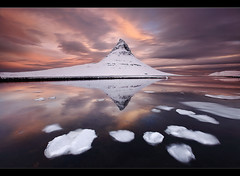 Pyramid Mountain - Kirkjufell at Snfellsnes, Iceland (orvaratli) Tags: winter sea mountain snow seascape cold reflection ice sunrise landscape frozen iceland pyramid atlantic fjord iceberg kirkjufell snfellsnes icelandic grundarfjrur breiafjrur grundafjrur arcticarcticphoto