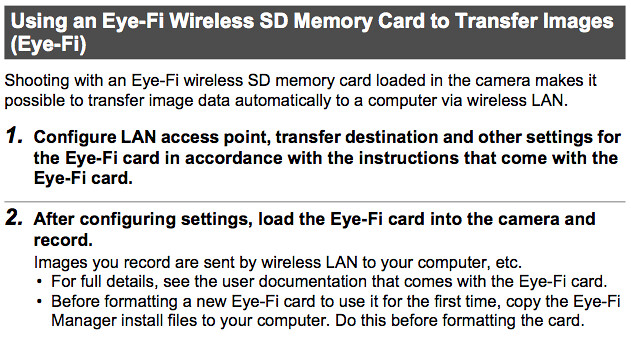 Complete instructions on using an Eye-Fi SD / SDHC memory card with the Casio H20G, found on pages 135 and 136 of the Casio H20G Manual