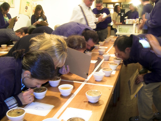 evaluating the aromas. . .