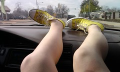 Yeller' shoes. (Imperfect Perfections) Tags: feet yellow shoe shoes legs leg converse feets converses leggs legg yellowshoes feetsies