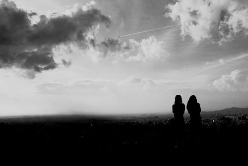 フリー写真素材, 人物, 人と風景, 空, シルエット, 飛行機雲, コロンビア,