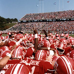 NC State celebrating football game win; 1984