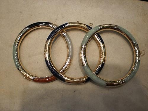 Gold bracket bracelets with jade or Lapis lazuli