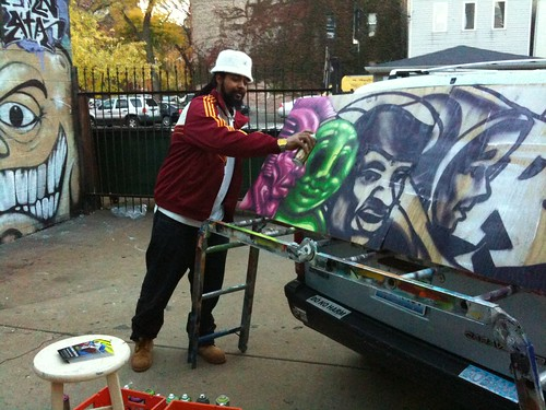 Rahmaan Statik, working on a piece