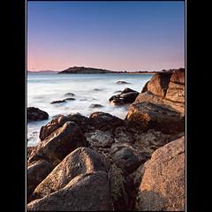 (David Panevin) Tags: longexposure morning sky bw seascape beach water clouds sunrise landscape rocks waves australia olympus tasmania e3 cremorne sigma1020mmf456exdchsm southarm bwnd davidpanevin