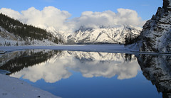 Reflections in Whiteman's Pond (zeesstof) Tags: mountain lake snow canada reflections pond alberta canmore canon7d mountladymacdonald canon18135is zeesstof whitemanspond