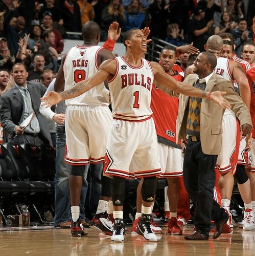 December 4th, 2010 - Derrick Rose celebrates after hitting a 3-pointer that tied the game against the Rockets, sending the game into overtime