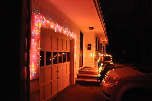 Christmas lights on our new home.