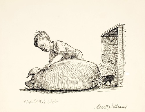 garth williams in sketch of boy with sleeping pig