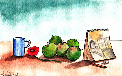 Coffee on the Table (with Apples & my Sketchbook)