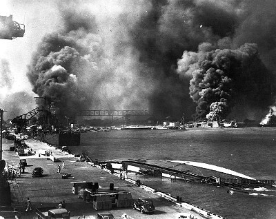 Ships Burn at Drydock, Pearl Harbor