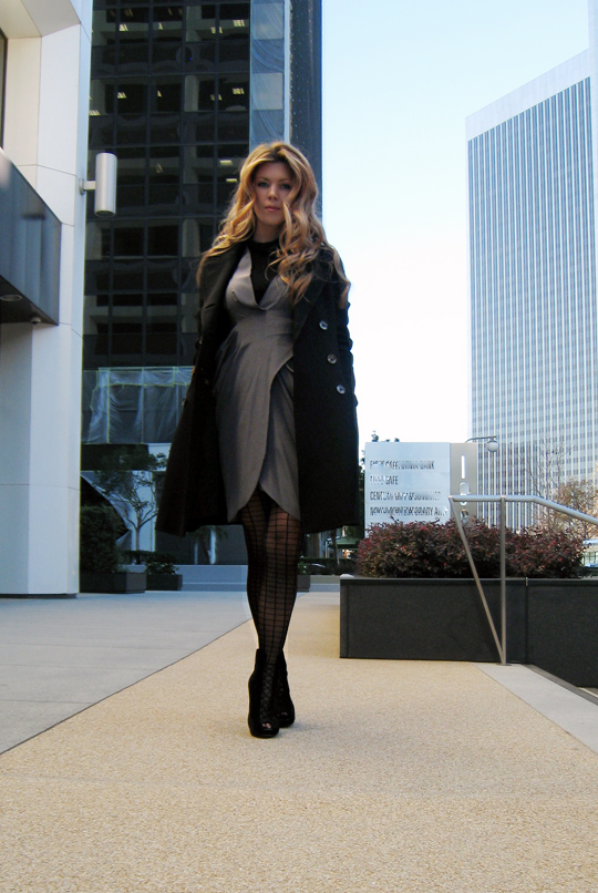 in century city+silk miguelina gray dress with coat and tights