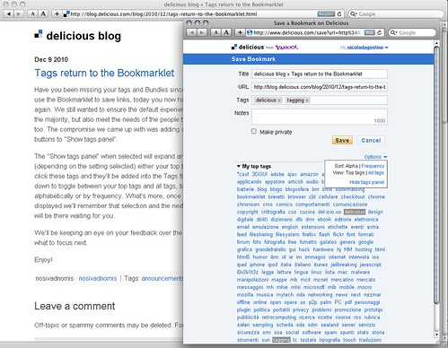 Delicious- Tags return to bookmarklet