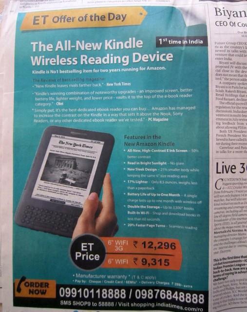 kindle newspaper ad