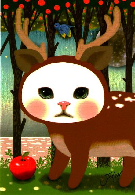 Jetoy Choo Choo reindeer cat postcard