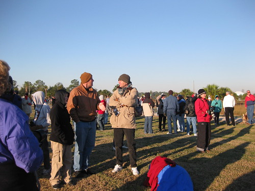 Crowds wait for Whooping Cranes in Saint Marks