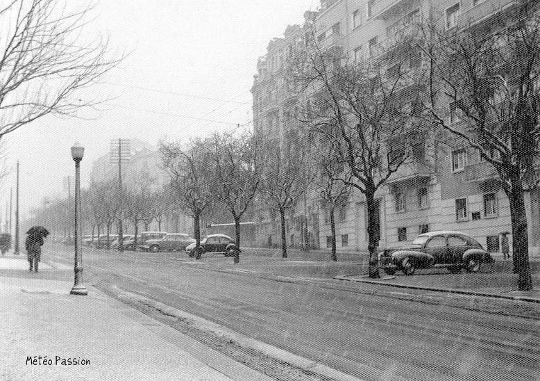 chute de neige à Lisbonne au Portugal début février 1954