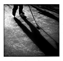 Cold Steel on Ice (TS Elliott) Tags: cameraphone family winter playing game cold ice hockey boys kids youth children square photography photo illinois pond backyard afternoon image brothers skating picture icerink photograph skate rink late stick format puck blade practice blades iphone cellphonephotography appleiphone bwweekend mobilephonephotography iphonecamerashots iphonography iphoneography tselliottallrightsreserved